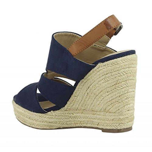 Zapatos de cuña de Mujer REFRESH 61784 ANT NAVY