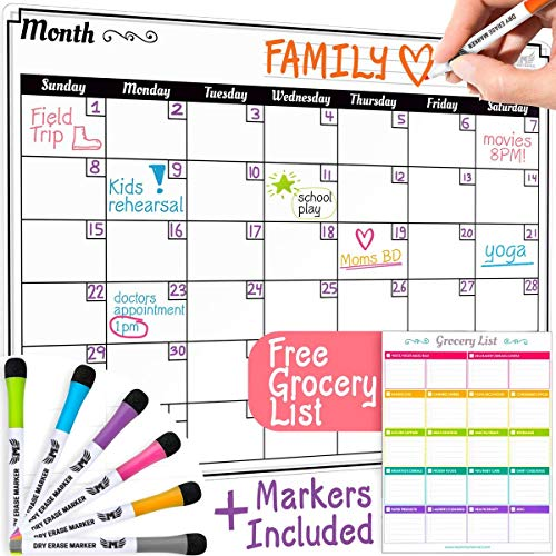 Dry Erase Monthly Calendar Set - Large Magnetic White Board & Grocery List Organizer for Kitchen Refrigerator (Horizontal) (Board Monthly Calendar Erase)