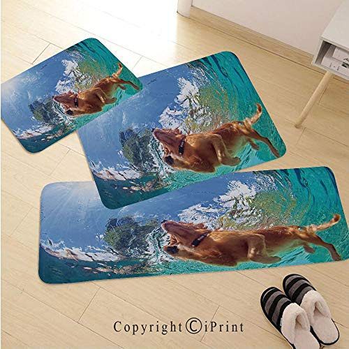 Funny 3D Non-Slip Kitchen Mat Runner Rug Set,3pc Kitchen Rug Set,Underwater Photo of Golden Labrador Retriever Puppy Swimming in Pool Happy Decorative,for Entryway Kitchen and Bedroom,Cinnamon Turquoi