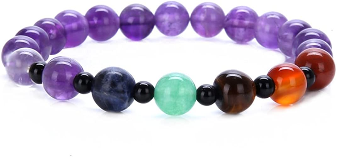 SIVITE 7 Chakra Natural Gemstone Mala Beads Bracelet Yoga Meditation Reiki Healing Bracelet for Women Men