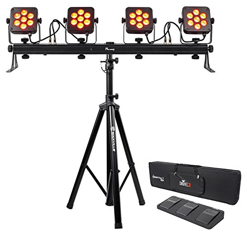 Chauvet DJ 4Bar Flex T USB D-Fi DMX LED Light Bar+Stand+Carry Case+Foot Switch by Chauvet