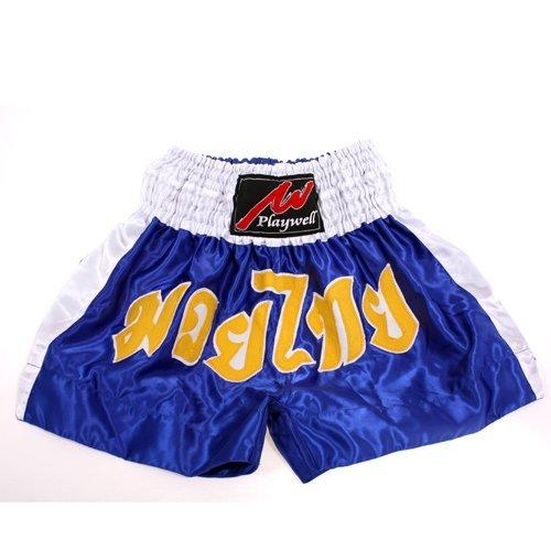 Muay Thai competición foely, satén, colour azul/blanco Playwell