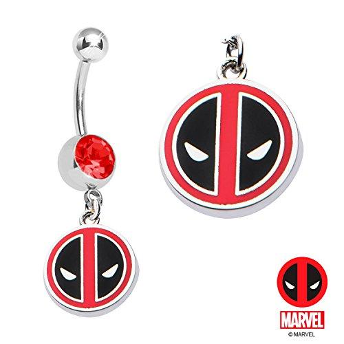 Red Gem Deadpool dead pool dangle Marvel comics Belly button navel Ring 14g