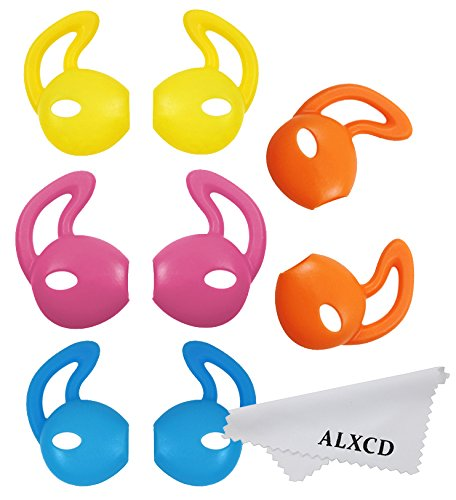 ALXCD Ear Gel for iPhone Earpods, Ear Buds Tips Bumper, 4 Pair White Anti-slip Soft Silicone Replacement Earbud Tips for Earphone of iPhone7 SE 6s iPhone 6s Plus 5s [Sport] (Red/Blue/Yellow/Orange)