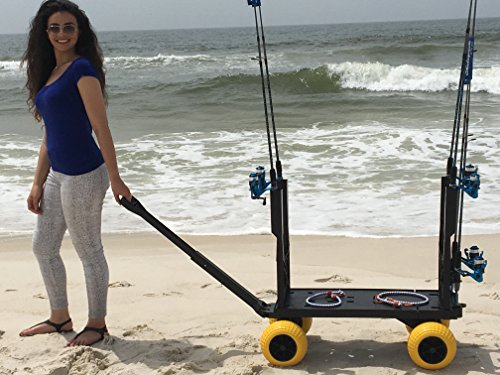 Surf fishing cart wagon with wheels for sand fish pole rod for Best pier fishing rod