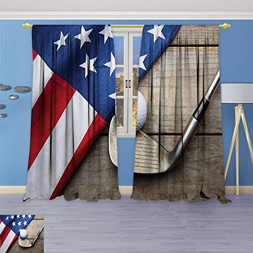 Philiphome Blackout Room Darkening Curtains Collection Golf Ball with Flag of USA on Wood Table Patriotism Rustic Country Window Panel Drapes Grommet Top