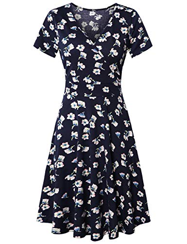 KASCLINO Women's Dress Sweet & Cute V-Neck Short Sleeve A-Line Floral Dress Vintage Mini Dress,Royal Blue XL