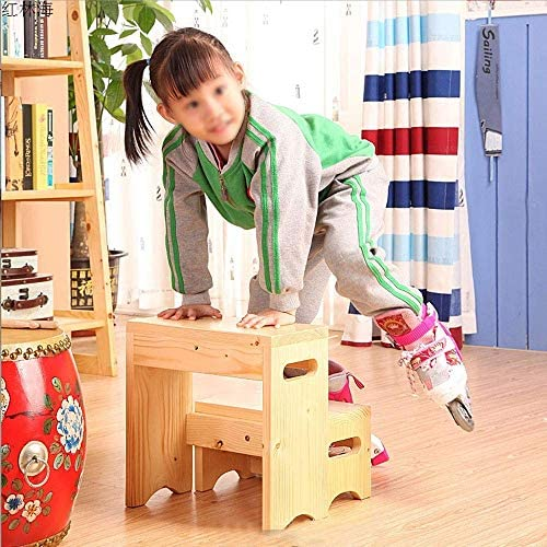 LJ Ladder,Step Stool, Wooden Ladder Step Stool, Low Stool, 2 Steps, Dual-Use Wooden Color, Practical Shoe Bench, Ascending Stool