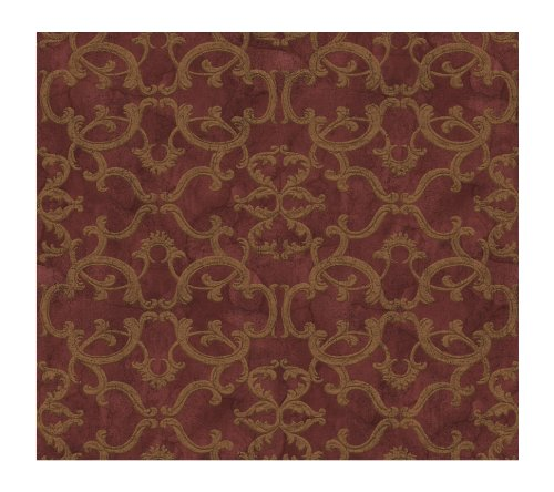 Link Curves Gold (York Wallcoverings WW4483 West Wind Ironwork Damask Prepasted Wallpaper, Red/Gold Metallic)