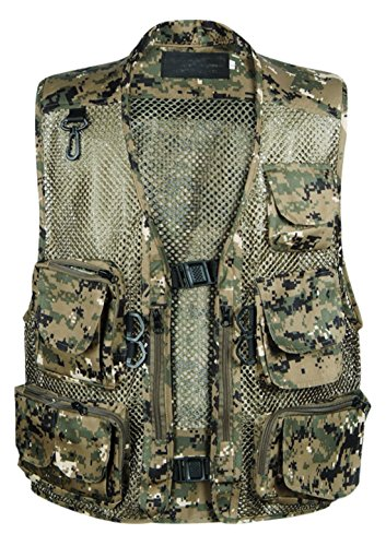 Gihuo Men s Camo Outdoor Fishing Travel Safari Mesh Vest Pockets