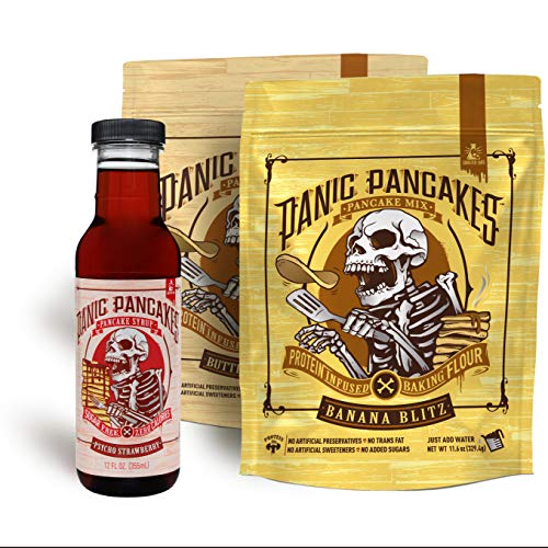 Panic Pancakes Mix & Syrup by Sinister Labs - Pancake Mix 2-Pack Variety (11.5 ounce bag), Psycho Strawberry Syrup, 1 bottle (12 ounce)