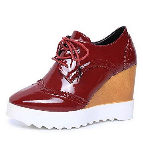 Tacchi Alti Amoonyfashion Pu Chiusa Merletto Punta Claret Donne shoes Solido Rotonda Pompe Delle Up wFxnEqnz8