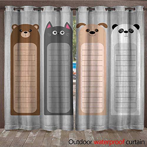 BlountDecor Outdoor Curtain Cartoon Kawaii Baby Bear cat Dog Panda Animal Head Set Bookmark Paper Sticker Collection Notepad Template Flat Design Gray Background Waterproof CurtainW120 x L96