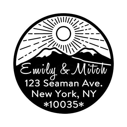Custom Return Address Stamp Sun Horizon Line Skyline Mountain Signet Circular Diameter 1.65inch 1pc Self Inking Personalized Seal for Business - Line Self Inking