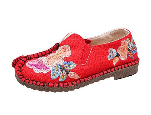 Avacostume Vrouwen Exotische Bloem Borduren Naaien Rand Flats Loafer Schoenen Rood