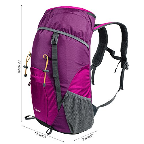 Review G4Free Large 40L Lightweight Water Resistant Travel Backpack/foldable & Packable Hiking Daypack(Purple/Red)
