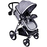 Babyroues Grey Newborn to Toddler Baby Stroller – Full Size Luxury Carriage - Infant Bassinet, Reversible Seat, Lightweight Aluminum Frame, Easy Compact Fold, All Terrain Wheels