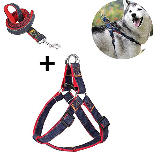 Pull Mascot (Vinca Mascot Dog Harness Leash No Pull Step-In Pet Vest Adjustable Heavy Duty Denim Dog Training Walking Harnesses for Small Medium Large Dogs By (L))
