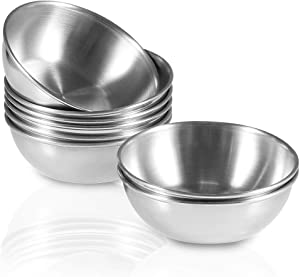 Amytalk 8 Pack 3.2inch Stainless Steel Sauce Dishes Mini Individual Saucers Bowl Round Seasoning Dishes Sushi Dipping Bowl Appetizer Plates, Silver