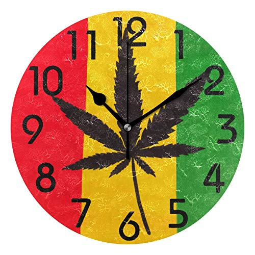 Dozili Stylish Marijuana Flag Print(Red Yellow Green) Round Wall Clock Arabic Numerals Design Non Ticking Wall Clock Large for Bedrooms,Living ()