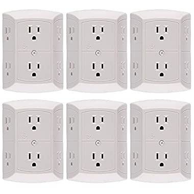 General Electric 50759 6 Pack 6-Outlet Grounded Adapter Spaced Tap, White