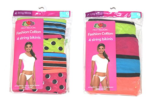 Low Rise String Bikini Panties (FRUIT OF THE LOOM WOMENS STRING BIKINI FASHION COTTON 8 PK (Assorted Colors) (5-Small))