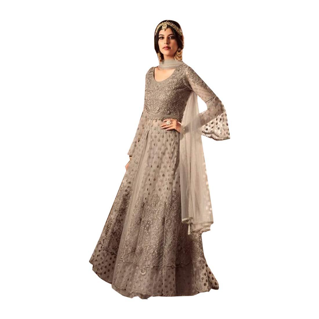 Cocktail Stylish Designer Abaya style Heavy Net Embroidered Anarkali Salwar Suit Muslim dress 7753
