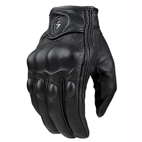 Top Guantes Fashion Glove real Leather Full Finger Black moto men