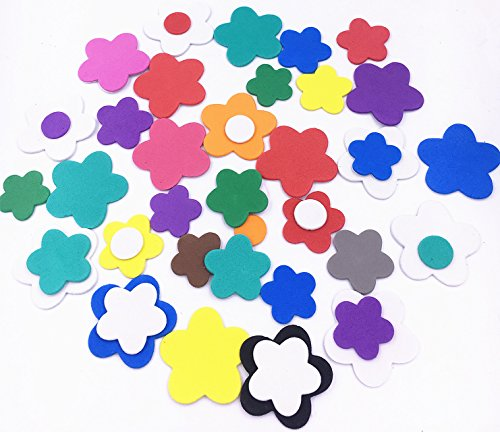 Tech Foam (TECH-P Creative Life Self-adhesive EVA Foam Shapes Sticker,Craft Foam Stickers For Embellish cards, Posters, Scrapbooks And More-About 300 PCS (Flower))