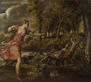 The polyster Canvas of oil painting 'Titian The Death of Actaeon ' ,size: 12 x 13 inch / 30 x 34 cm ,this Best Price Art Decorative Canvas Prints is fit for Bedroom artwork and Home artwork and Gifts