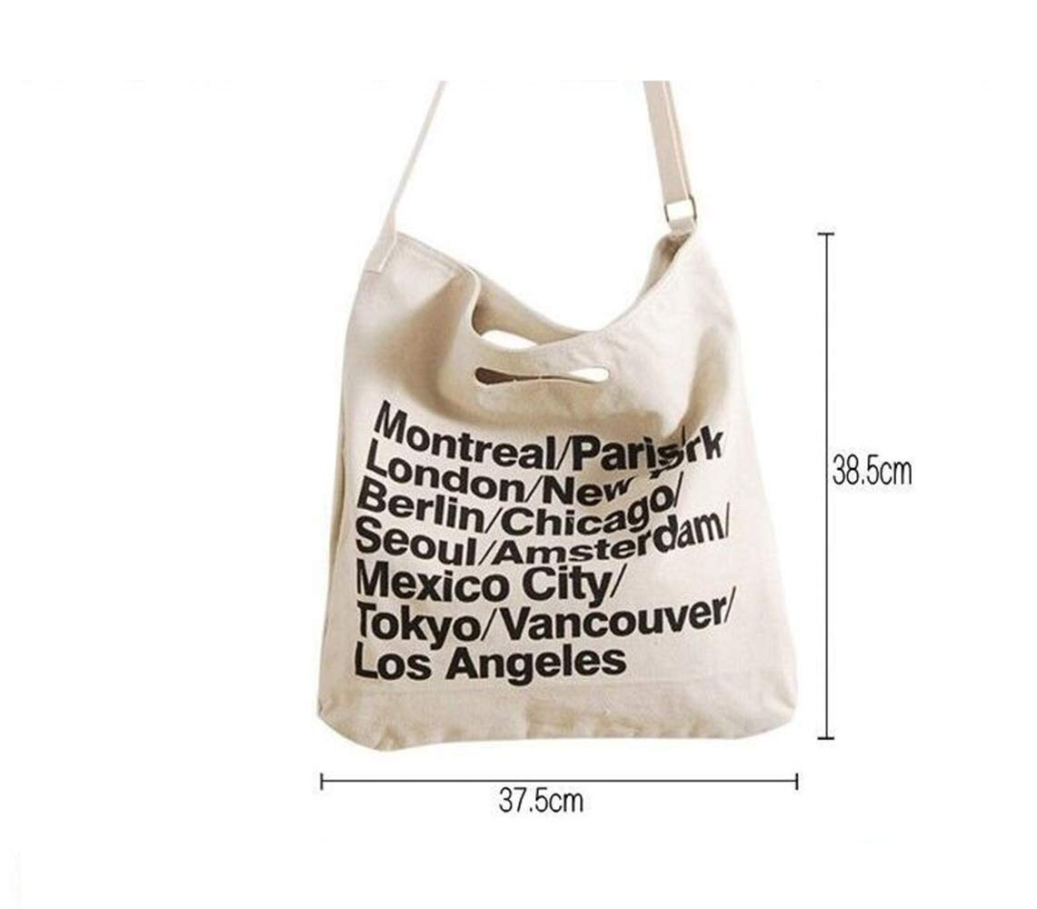 WHXYAA Canvas City Names Shoulder Commuting Tote Bag Large-Capacity Shopping Beach Bag (White) Atmosphere Ladies