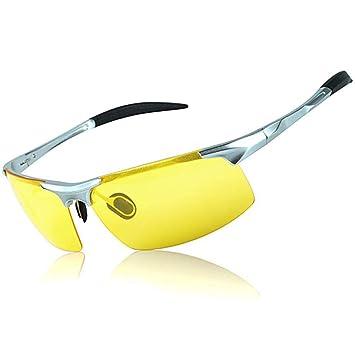 a7e6a043b CCDYLQ Mens visión Nocturna conducción Gafas de Sol polarizadas, al-MG  Metal Marco luz Anti deslumbramiento UV400, protección lluvioso Seguro HD  visión ...