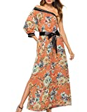 Ray-JrMALL Women Floral Dress Long Sexy One Shoulder Flowy Print Casual Short Sleeve Maxi Dress Orange