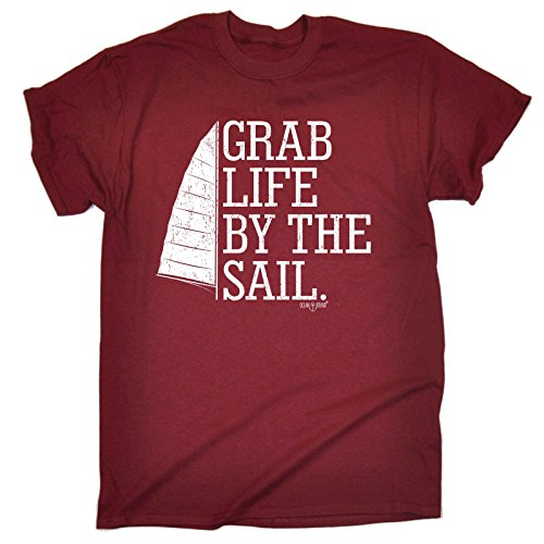 123t Ocean Bound Men's GRAB LIFE BY THE SAIL ... SAILING DESIGN (XL - MAROON) LOOSE FIT T-SHIRT