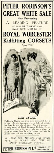 Royal Worcester Antiques (1918 Ad Peter Robinson Great White Sale Royal Worcester Kidfitting Corset Dress - Original Print Ad)