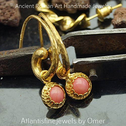 Coral Horn (Coral Charm Hammered Horn Earrings 24 k Gold over 925 k Silver Design By Omer)