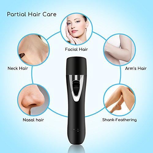 Mondeer Depiladora Electríca para Mujer, Afeitadora Femenina 2 en 1, Mini Recortador de Vello Facial, Manicura Naríz, Recargable USB (Black): Amazon.es: ...