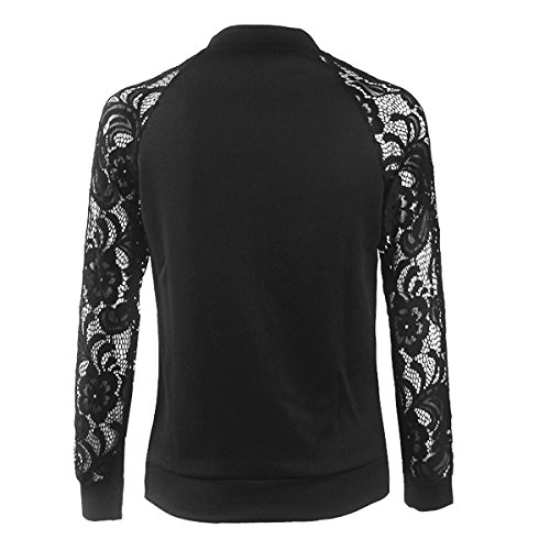 Lace Quilted Bomber Hollow Womens Leezeshaw Casual Black Short Lightweight Solid Out Jacket Coat SqFRnwnUf