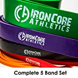 Pull Up Assistance Band Pack – Set of 5 Heavy Duty 41″ Loop Bands for Pull-Up Assist – #1 Orange #2 Red, #3 Black, #4 Purple, #5 Green – Provides 5 – 300lbs Resistance / Assistance