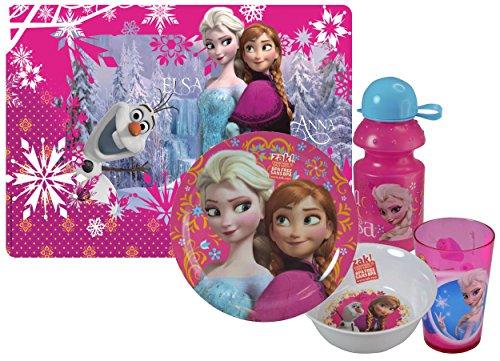 [Zak! Designs Girls Elsa & Anna Mealtime Set! Includes Placemat, Plate, Bowl, Tumbler Cup & Water Bottle! Featuring Disney Frozen Graphics! BPA-free, 5 Pc Set.] (Disney Frozen Placemat)