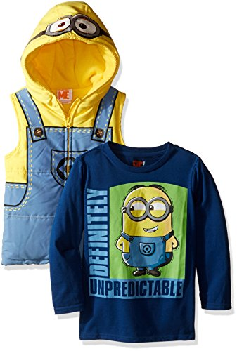 Universal Little Boys' Toddler 2 Piece Minions Tee and Costume Hooded Vest, Blue, 3T (Blue Hoodie Vest)