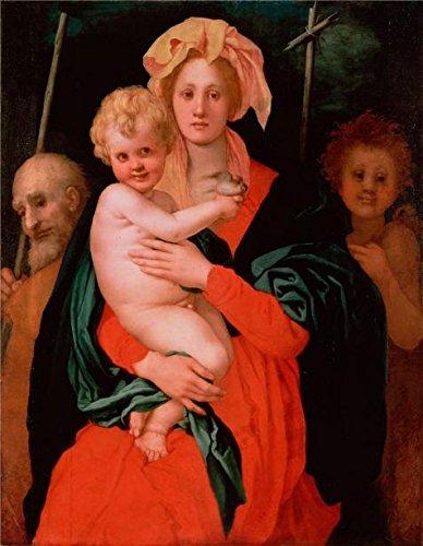 The Virgin子St Joseph John the Baptist、1527by Jacopo da Pontormo `油絵、30x 39インチ/ 76x 98cm、の印刷ポリエステルキャンバス、この模倣アート装飾印刷は、forパウダー部屋装飾およびギフトにピッタリの商品画像