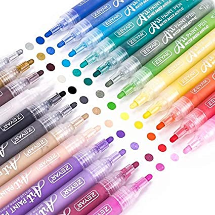 Wat... Expert of Rock Painting 24 Colors Extra Fine ZEYAR Acrylic Paint Pens