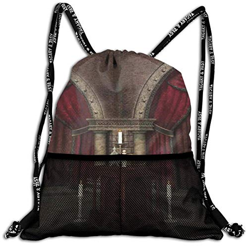 - Drawstring Backpack bags, Mysterious Dark Room In Castle Ancient Pillars Candles Spiritual Atmosphere Pattern