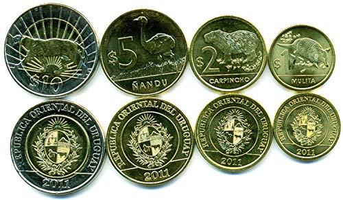 (Uruguay 4 Coins Set 2011 UNC 1-10 pesos Collectible Coins to Your Coins Album, Coin Holders OR Coin Collection)