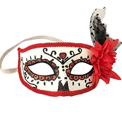 Ferytyj Day of Dead Masks Masquerade Mardi Gras Masks (Red) -
