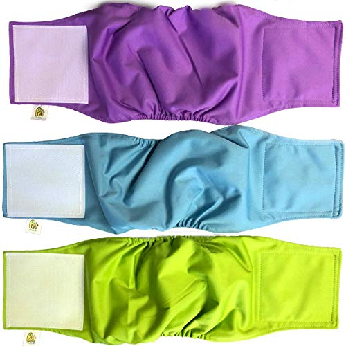 Pet Magasin Luxury Male Dog Belly Manner Band Wraps - Extra Comfort (3-Pack) - Washable & Reusable Pet Belly Nappies Diapers for Male Dogs, Cats or Other Small Animals (Small)