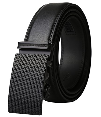 Dante Men's Leather Ratchet Dress Belt with Automatic Buckle, Elegant Gift Box(Black Buckle with Black - Belts