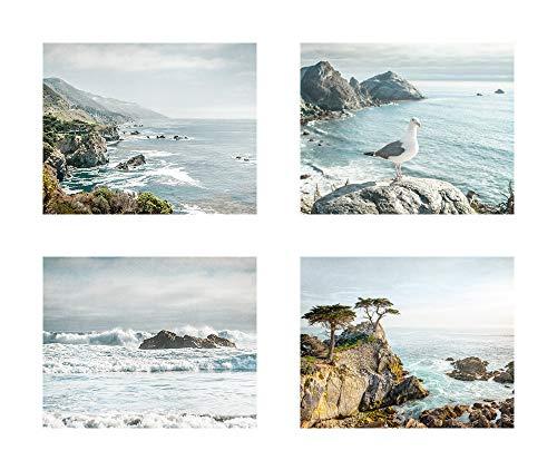 (Northern California Wall Art, Big Sur Coastal Decor Gift Set, 8x10 prints (set of 4) with 11x14 Mats, Fits 11x14 frame 'Big Sur')