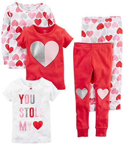 Carter's Baby Girls' 5-Piece Cotton Snug-Fit Pajamas, Hearts, 9 Months